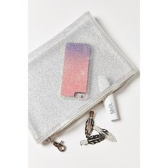 Glitter Pouch ($14) ❤ liked on Polyvore featuring bags, handbags, clutches, white handbags, white purse, white tote handbags, urban outfitters and zipper tote