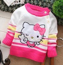 2014 hot sale da moda olá kitty personagem dos desenhos animados de algodão de manga longa roupas tarja patchwork bebê camisolas frete grátis(China (Mainland))