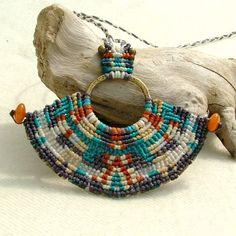 Collar de macramé OOAK nativa americana, cuentas con cuentas de cornalina
