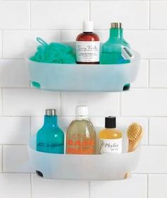 Organizing ideas for the bathroom shower.