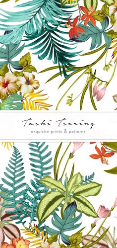 Tropic Chic by Exquisite Prints - A trendy tropical print in vibrant colors with beautiful elements. The print comes in two vibrant colorways with transparent Fabric Design, Pattern Design, Print Design, Office Wallpaper, Stationary Items, Paper Organization, Flower Paintings, Paper Products, Floral Motif
