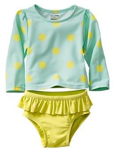 Polka dot rashguard two-piece swimsuit, Baby Gap Girls Swimwear
