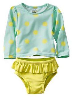 Polka dot rashguard two-piece swimsuit, Baby Gap Girls Swimwear
