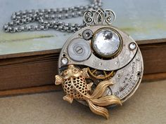 ZEN GARDEN - Antique year 1925 Elgin watch movement necklace with vintage Swarovski crystal and goldfish charm