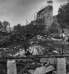 West View Park - Sept. 3, 1980: A Sunday night fire leveled much of what remained of Big Dips roller coaster. (Credit: Kent Badger/The Pittsburgh Press)