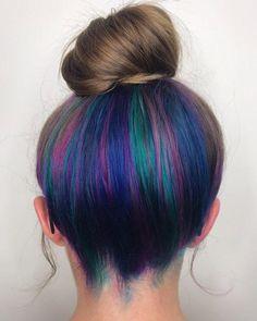 Blue Highlights On Brown Hair In 2020 20 Pretty Peekaboo Highlights You Need to See now Blue Ombre Hair, Hair Color Purple, Cool Hair Color, Blonde Pink, Violet Hair, Underdye Hair, Red Hair, Black Hair, Peekaboo Hair Colors
