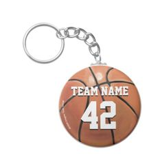 Custom Basketball Team Name and Number Keychains designed by ITD Sports Center. #sports #athlete #team #marchmadness