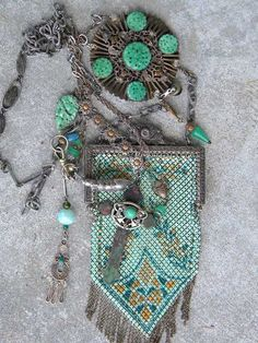 Art Deco enamel mesh chatelaine purse