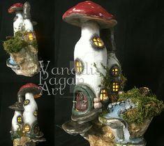 Gnome Home, handmade by Vanadis Pagan Art. Just stunning! #fairyhouse #gnomehome #nightlight #fairylamp