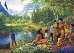Native American family in Paradise. God's people already are free from racial prejudice. We all come from Adam.