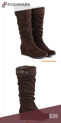Brand new boots Comfort and style meet with the Delta-04 mid-calf boot. It features a flat sole giving your foot a break from the heels. The upper features a knitted, fold down shaft with buckle accents giving the shoe a stylish look. Pair it off best with denim jeans and a sweater for the ultimate winter look. Shaft: 14.5 in. Opening: 15 in. (approx.) Hidden wedge: 1 in. Synthetic suede Slip on style Knitted, fold down shaft Round toe Flat, rubber sole All man made materials Wild Diva Shoes…