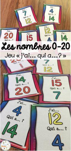 """Jeu """"j'ai... qui a...?"""" pour pratiquer les nombres de 0 à 20. Deux options sont incluses: avec et sans les nombres en lettres. Il y a aussi 2 formats de cartes."""