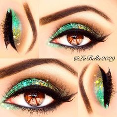 Green and gold glitter makeup
