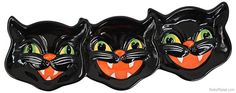 These black cats are anything but unlucky! This sectional Vintage Halloween Cat Serving Dish is perfect for peanuts, candies, and even olives! Great for Vintage Halloween parties and throughout the month of October, this sectional server is ideal for office or home use. Over a foot long!