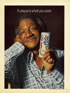 1974 Redd Foxx for Colt 45 Malt Liquor Beer Advertisement Celebrity Sanford and… Colt 45, Vintage Advertisements, Vintage Ads, Vintage Black, Retro Advertising, Retro Ads, Celebrity Advertising, Vintage Food, Vintage Vogue