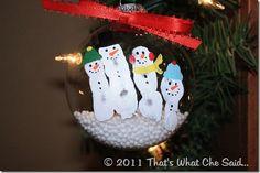 snowman fingerprint ornaments