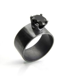 Wide Band Ring in Sterling Silver with a Black Spinel Gemstone and Blackened Patina.  From Abish Essentials on Etsy.com.