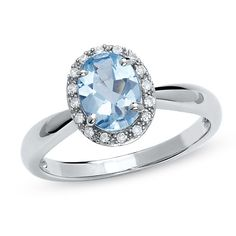Oval Aquamarine Ring in 14K White Gold with Diamond Accents