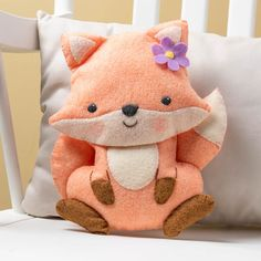 Bucilla Woodland Floral Fox Baby Shower Gift Kids Felt Pillow Craft Kit 49213E