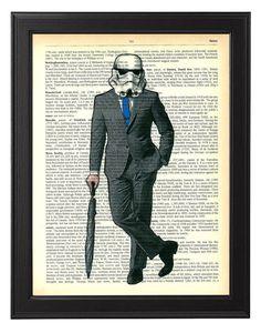 Stormtrooper star wars costume vintage upcycled dictionnaire impression / Star Wars poster art / Star Wars atwork / cadeau de décor de mur Stormtrooper