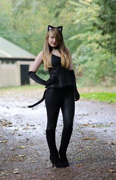 here is my sexy black cat outfit i wore for halloween including a tail bow tie satin gloves and cat ears - Cat Outfit For Halloween