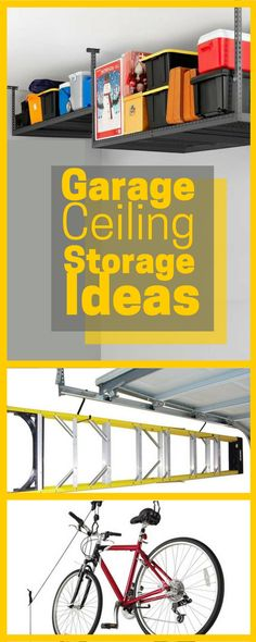 Ceiling-Mounted Shelves - Add a simple shelf for additional storage with an adjustable height ceiling storage rack. This garage ceiling storage rack by Suncast is available at Target. garage ceiling storage rack by Suncast Garage Ceiling Storage, Ladder Storage, Overhead Garage Storage, Garage Shelf, Attic Storage, Door Storage, Storage Spaces, Smart Storage, Bike Storage Pulley