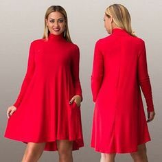 Plus Size A Line Women Dress 6XL Turtleneck Long Sleeve Elegant Vintage Autumn Winter Midi Dresses Big Lap Women's Shirt Dress