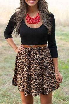leopard belted dress