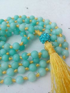 Shamballa Mala Amazonite Throat Chakra 108 Knotted Mala Necklace Bracelet Silk Tassel Meditation Yoga Prayer Bead Healing Energy