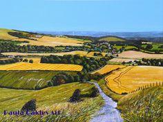"""Harvest time over Glynde"" (East Sussex) ORIGINAL ART by Paula Oakley"