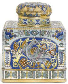 A Fabergé silver-gilt and cloisonné enamel tea caddy, workmaster Feodor Rückert, Moscow, 1908-1917   lot   Sotheby's