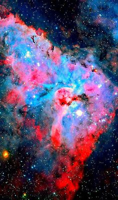 A portion of the Carina Nebula is known as the Keyhole Nebula (NGC 3324), a name given to it by John Herschel in the 19th century. The Keyhole Nebula is actually a much smaller and darker cloud of cold molecules and dust, containing bright filaments of hot, fluorescing gas, silhouetted against the much brighter background nebula.