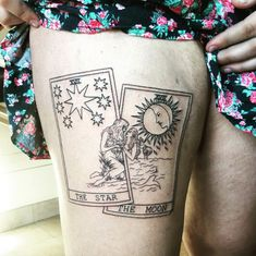 """jon-snow: """"no one will EVER understand me in the way my tattoo artist did when i sent her these two art references and asked her to make me gay tarot cards lol """" Dainty Tattoos, Dope Tattoos, Star Tattoos, Pretty Tattoos, Mini Tattoos, Body Art Tattoos, Sleeve Tattoos, Sun Moon Tattoos, Romantic Tattoos"""