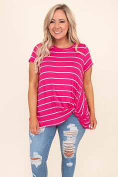 We wish we could stay in this stripe top forever! It features a relaxed fit and has a knot detail at the hemline. It's a definitely a comfy go-to! Toss it on with jeggings and sneakers for a cute outfit! Jeggings, Spring Outfits, Plus Size Fashion, Hemline, Style Me, Hot Pink, Cute Outfits, Trendy Outfits, How To Wear