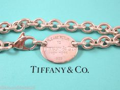 Tiffany & Co. Authentic Sterling Silver Please Return To Bracelet W Oval Charm