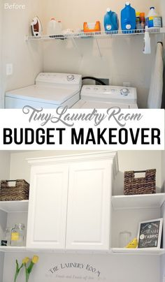 This DIY makeover cost under 300 including all of the accessories for this small laundry room Now it has a lot more room for storage and hidden organization Tiny Laundry Rooms, Laundry Room Remodel, Laundry Room Design, Basement Laundry, Laundry Decor, Small Laundry Area, Small Laundry Closet, Kitchen Remodel, Laundry Room Organization