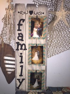 A personal favorite from my Etsy shop https://www.etsy.com/listing/266999073/family-wood-distressed-photo-holder-sign