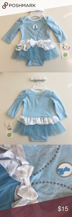 NWT Infant Cinderella Bodysuit Costume Bought this costume for my daughter's first Halloween but ended up making her something else. Never even tried it on her. Style is a bodysuit onesie with snap closure. Comes with a matching headband. Please carefully review each photo before purchase as they are the best descriptors of the item. My price is firm. No trades. First come, first served. Thank you! :) Disney Costumes Halloween