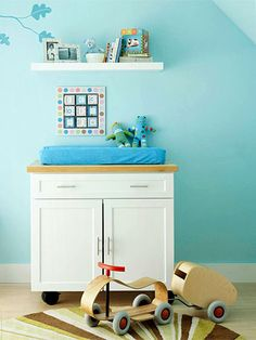 Quick Change... kitchen island as changing table... casters lock into place or allow table to be moved.