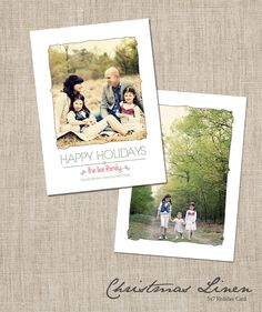 Christmas Linen   Holiday Card Template by frankandfrida on Etsy, $11.00