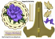 Pretty Purple rose on cream gold plate stand on Craftsuprint - Add To Basket!