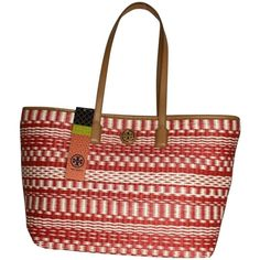 Pre-owned Tory Burch Small Stripe Straw & Red Tan Natural Tote Bag ($225) ❤ liked on Polyvore featuring bags, handbags, tote bags, red tan natural, handbags totes, red tote bag, white tote, tote handbags and white purse
