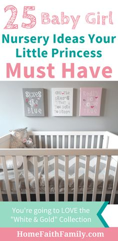 These adorable baby girl nursery ideas are perfect for your little princess. You're going to love the classy and vibrant colors. These nursery ideas are easy to make your own and duplicate. Keep reading to find your favorite. #nurseryideas #babygirl #nursery #littleprincess via @homefaithfamily