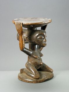Africa | Caryatid Stool from the Luba people of DR Congo | Wood | 20th century