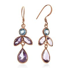 6.00 Carat Blue Topaz & Amethyst Earrings In 10K Rose Gold Over Sterling Silver #Netaya #DangleDrop