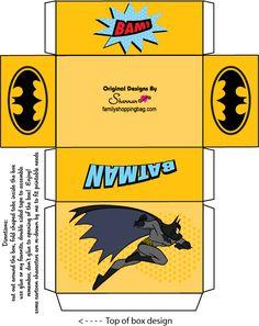 The original Batman box template to print and make at home Batman Birthday, Batman Party, Superhero Party, Batman Coloring Pages, Lolly Bags, Batman Gifts, Dollhouse Toys, Freebies, Festa Party