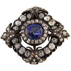 Pre-owned 1870s Sapphire Diamond Silver Gold Brooch ($17,202) ❤ liked on Polyvore featuring jewelry, brooches, antique jewelry, diamond brooch, fine jewelry, antique silver jewelry and antique diamond brooch