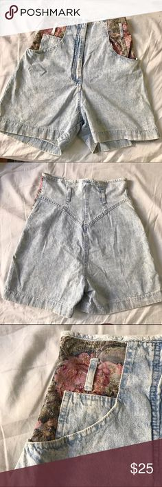 Vintage high waist shorts Suuuuper cute vintage high waist shorts with Old world charm at the pockets. Tag says size 7 but I'm a 0/1 and these fit me with a tiny bit of room. I can see this on a lady with really long legs! ✨✨perfect for wearing with crop tops or leotards to tuck in as these are very high waisted! Also, with a bandeau bikini for the beach ☺️ vintage  Shorts Jean Shorts