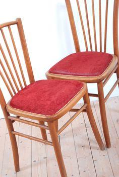 chaises vintage, bistrot, bois clair, velours, style, forme et fonction, lucinevintage