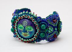 Gorgeous Blue Red & Green Bead Embroidered by epochbeadsUK on Etsy